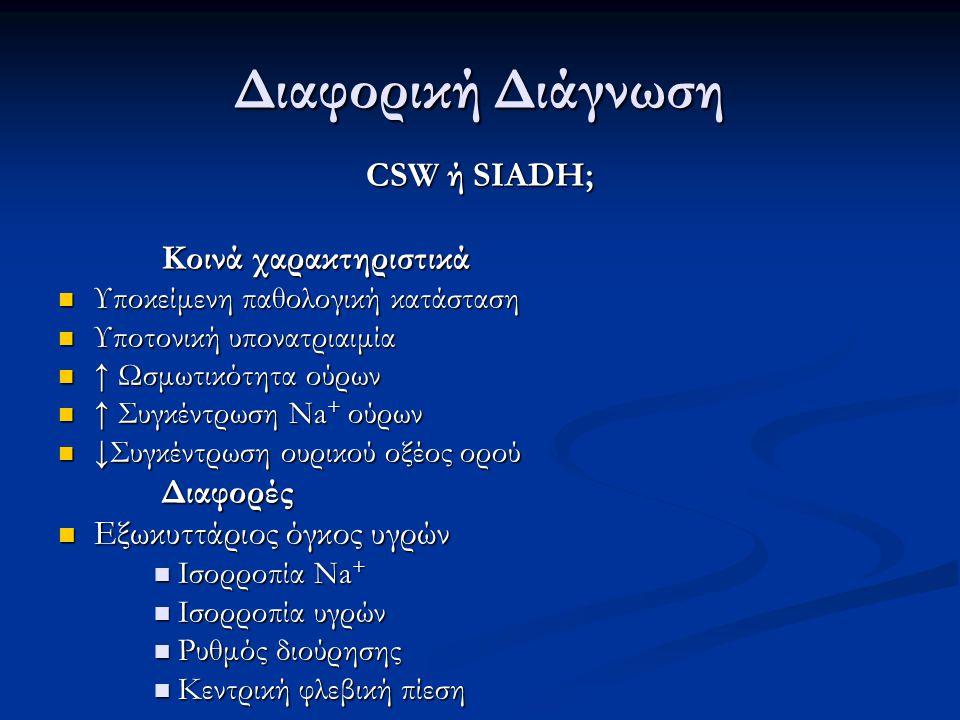CSW ή SIADH; Εκτίμηση κατάστασης όγκου υγρών Εκτίμηση κατάστασης όγκου υγρών Συνδυασμός συμπτωμάτων, σημείων και εργαστηριακών παραμέτρων Σχολαστική καταγραφή ισοζυγίου υγρών