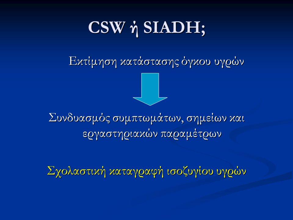 CSW ή SIADH; Μεταβολές στην κλασματική απέκκριση ουρικού με τη διόρθωση της υπονατριαιμίας Μεταβολές στην κλασματική απέκκριση ουρικού με τη διόρθωση της υπονατριαιμίας Μεταβολές στη συγκέντρωση του Na + του ορού με τη χορήγηση φυσιολογικού ορού Μεταβολές στη συγκέντρωση του Na + του ορού με τη χορήγηση φυσιολογικού ορού