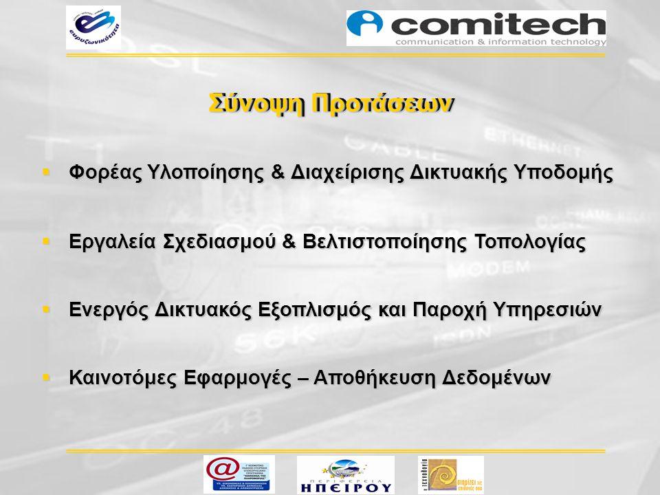  Καινοτόμες Εφαρμογές – Αποθήκευση Δεδομένων  Φορέας Υλοποίησης & Διαχείρισης Δικτυακής Υποδομής  Εργαλεία Σχεδιασμού & Βελτιστοποίησης Τοπολογίας
