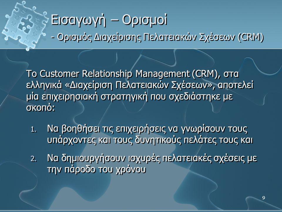 9 Εισαγωγή – Ορισμοί - Ορισμός Διαχείρισης Πελατειακών Σχέσεων (CRM) Το Customer Relationship Management (CRM), στα ελληνικά «Διαχείριση Πελατειακών Σ