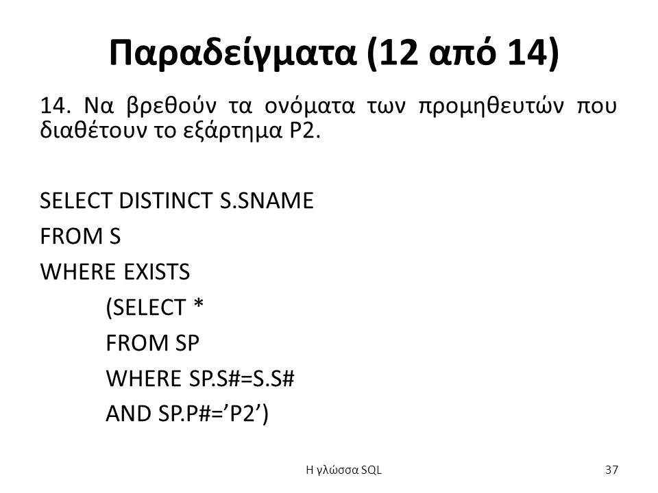 Παραδείγματα (12 από 14) 14. Να βρεθούν τα ονόματα των προμηθευτών που διαθέτουν το εξάρτημα Ρ2.