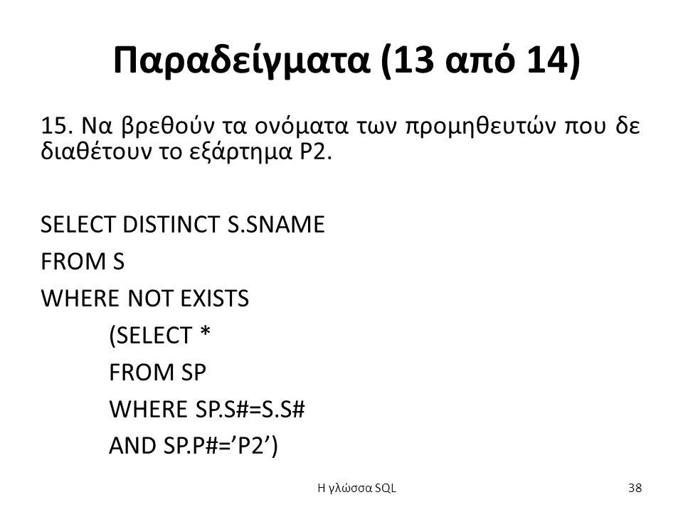 Παραδείγματα (13 από 14) 15. Να βρεθούν τα ονόματα των προμηθευτών που δε διαθέτουν το εξάρτημα Ρ2.