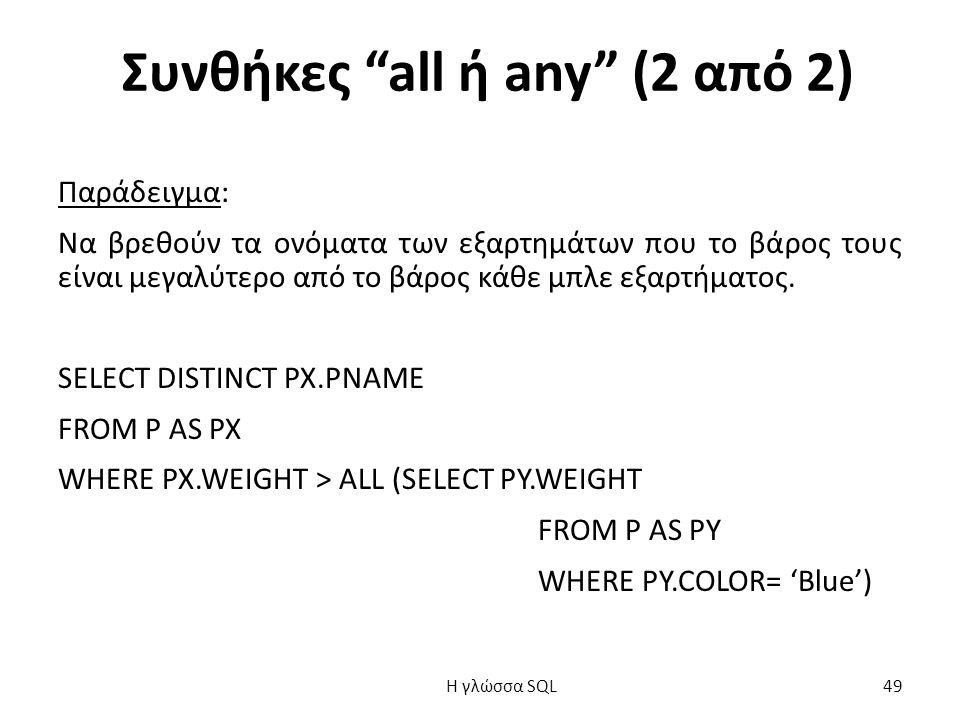 Συνθήκες all ή any (2 από 2) Παράδειγμα: Να βρεθούν τα ονόματα των εξαρτημάτων που το βάρος τους είναι μεγαλύτερο από το βάρος κάθε μπλε εξαρτήματος.