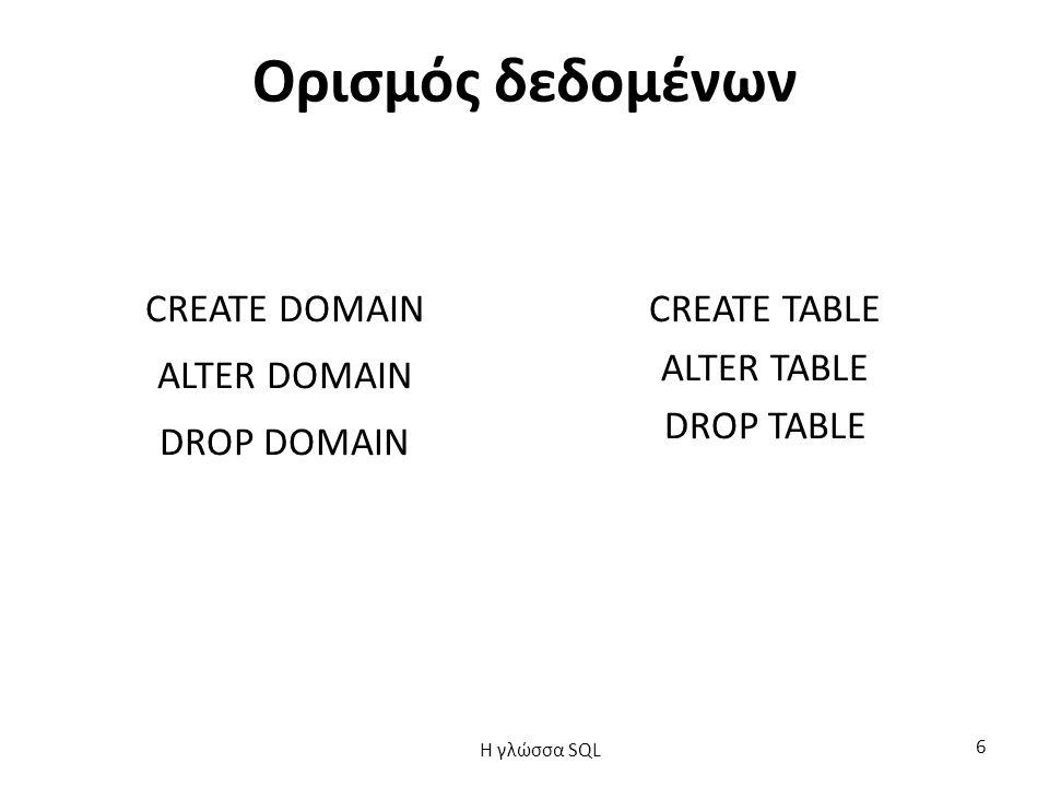 Ορισμός δεδομένων CREATE DOMAIN ALTER DOMAIN DROP DOMAIN CREATE TABLE ALTER TABLE DROP TABLE H γλώσσα SQL 6