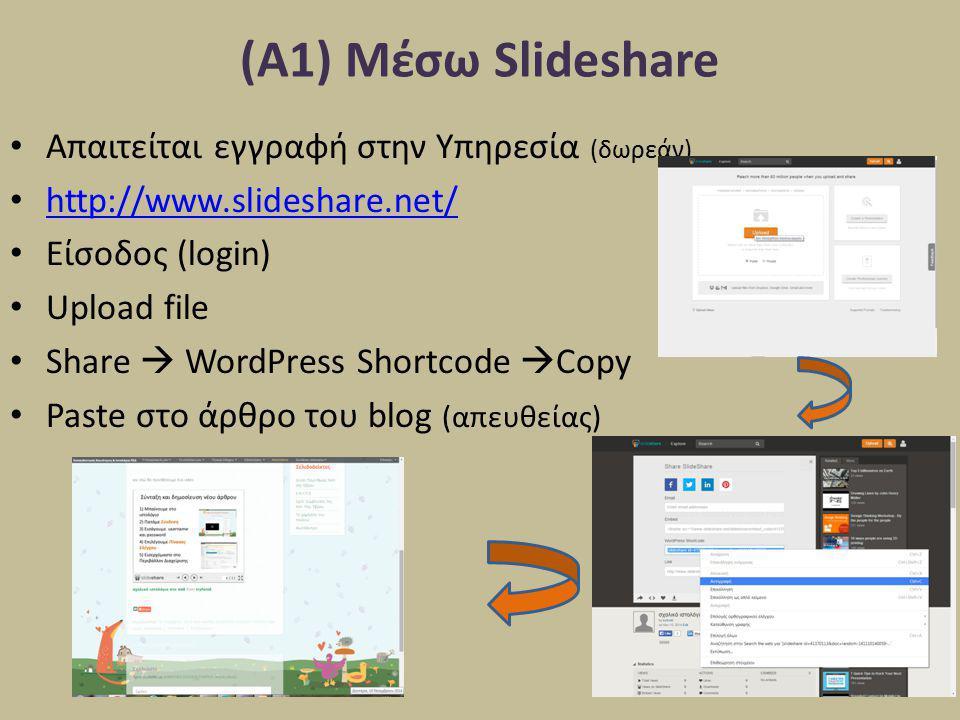 (Α1) Μέσω Slideshare Απαιτείται εγγραφή στην Υπηρεσία (δωρεάν) http://www.slideshare.net/ Είσοδος (login) Upload file Share  WordPress Shortcode  Co