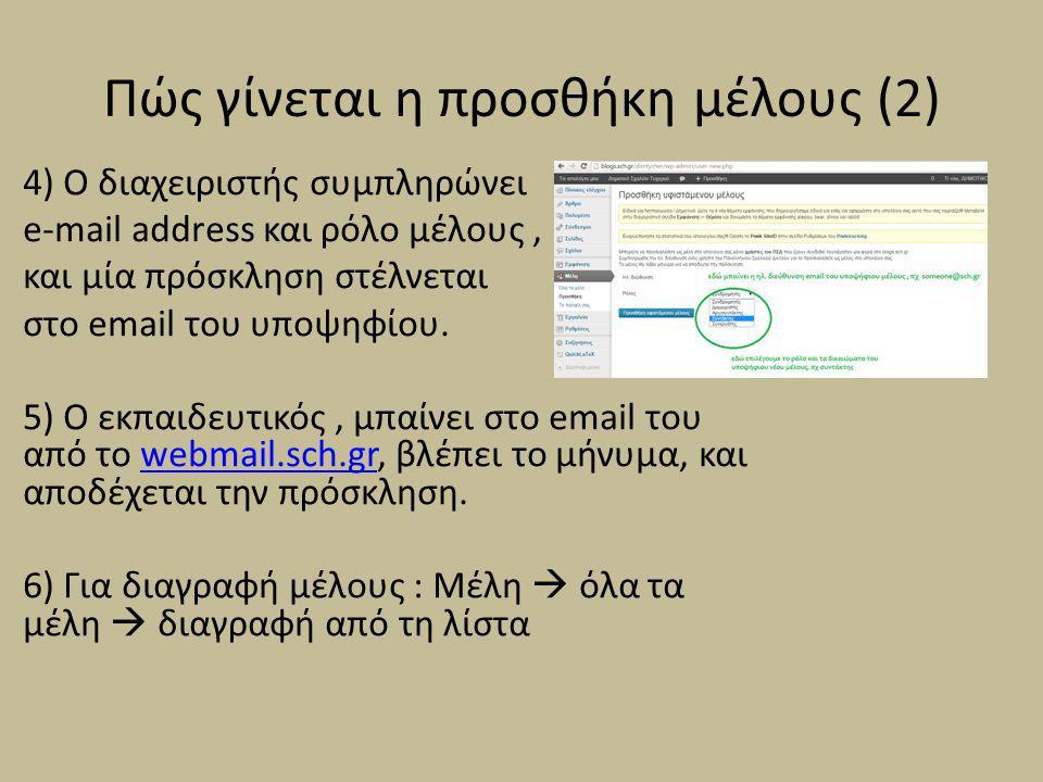 Πώς γίνεται η προσθήκη μέλους (2) 4) Ο διαχειριστής συμπληρώνει e-mail address και ρόλο μέλους, και μία πρόσκληση στέλνεται στο email του υποψηφίου. 5