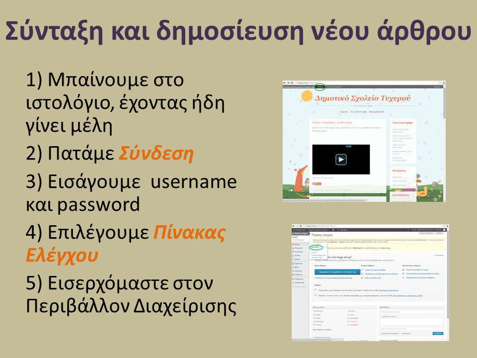 Σύνταξη και δημοσίευση νέου άρθρου 1) Μπαίνουμε στο ιστολόγιο, έχοντας ήδη γίνει μέλη 2) Πατάμε Σύνδεση 3) Εισάγουμε username και password 4) Επιλέγου