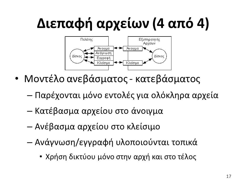 Διεπαφή αρχείων (4 από 4) Μοντέλο ανεβάσματος - κατεβάσματος – Παρέχονται μόνο εντολές για ολόκληρα αρχεία – Κατέβασμα αρχείου στο άνοιγμα – Ανέβασμα αρχείου στο κλείσιμο – Ανάγνωση/εγγραφή υλοποιούνται τοπικά Χρήση δικτύου μόνο στην αρχή και στο τέλος 17