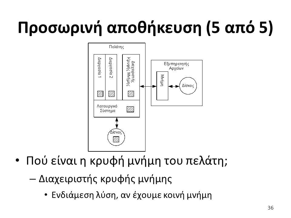 Προσωρινή αποθήκευση (5 από 5) Πού είναι η κρυφή μνήμη του πελάτη; – Διαχειριστής κρυφής μνήμης Ενδιάμεση λύση, αν έχουμε κοινή μνήμη 36
