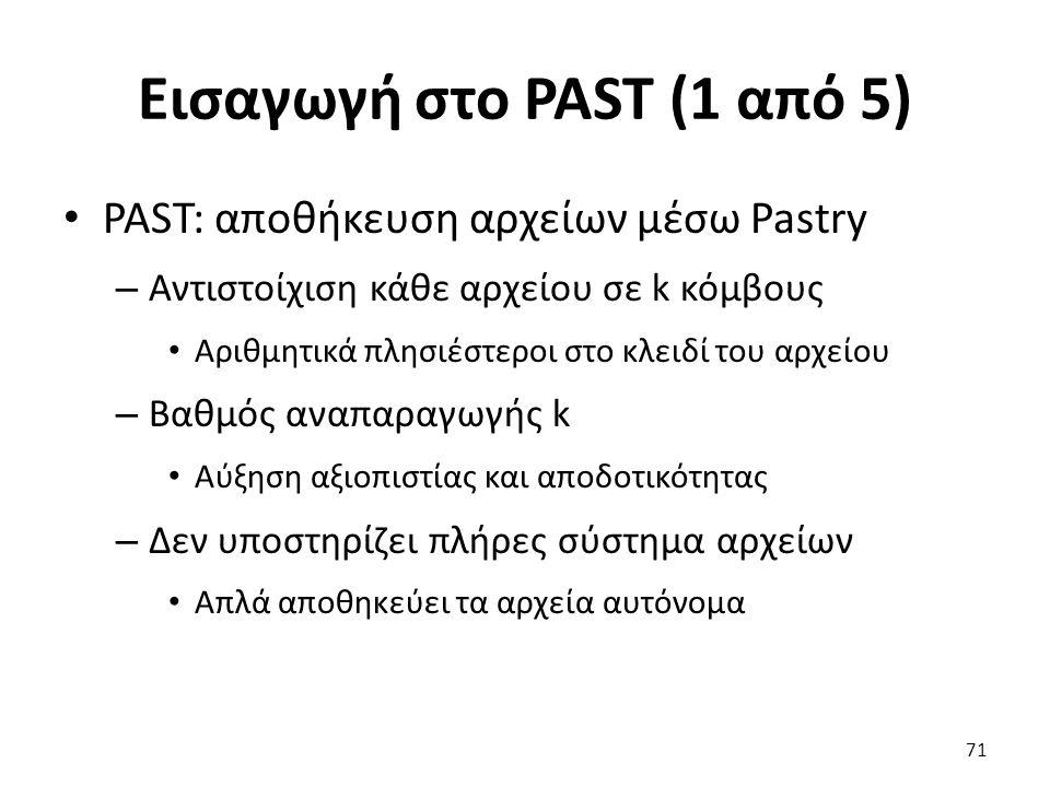 Εισαγωγή στο PAST (1 από 5) PAST: αποθήκευση αρχείων μέσω Pastry – Αντιστοίχιση κάθε αρχείου σε k κόμβους Αριθμητικά πλησιέστεροι στο κλειδί του αρχείου – Βαθμός αναπαραγωγής k Αύξηση αξιοπιστίας και αποδοτικότητας – Δεν υποστηρίζει πλήρες σύστημα αρχείων Απλά αποθηκεύει τα αρχεία αυτόνομα 71