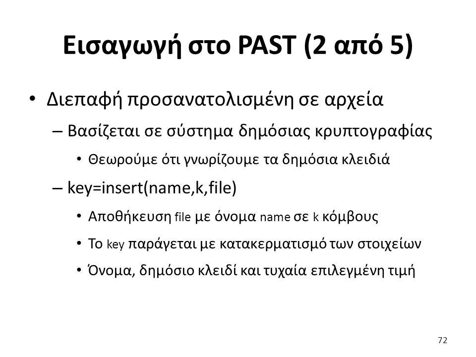 Εισαγωγή στο PAST (2 από 5) Διεπαφή προσανατολισμένη σε αρχεία – Βασίζεται σε σύστημα δημόσιας κρυπτογραφίας Θεωρούμε ότι γνωρίζουμε τα δημόσια κλειδιά – key=insert(name,k,file) Αποθήκευση file με όνομα name σε k κόμβους Το key παράγεται με κατακερματισμό των στοιχείων Όνομα, δημόσιο κλειδί και τυχαία επιλεγμένη τιμή 72