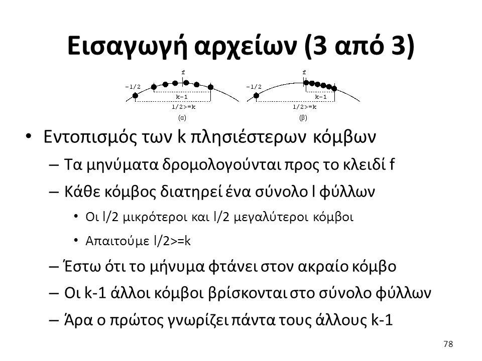 Εισαγωγή αρχείων (3 από 3) Εντοπισμός των k πλησιέστερων κόμβων – Τα μηνύματα δρομολογούνται προς το κλειδί f – Κάθε κόμβος διατηρεί ένα σύνολο l φύλλων Οι l/2 μικρότεροι και l/2 μεγαλύτεροι κόμβοι Απαιτούμε l/2>=k – Έστω ότι το μήνυμα φτάνει στον ακραίο κόμβο – Οι k-1 άλλοι κόμβοι βρίσκονται στο σύνολο φύλλων – Άρα ο πρώτος γνωρίζει πάντα τους άλλους k-1 78