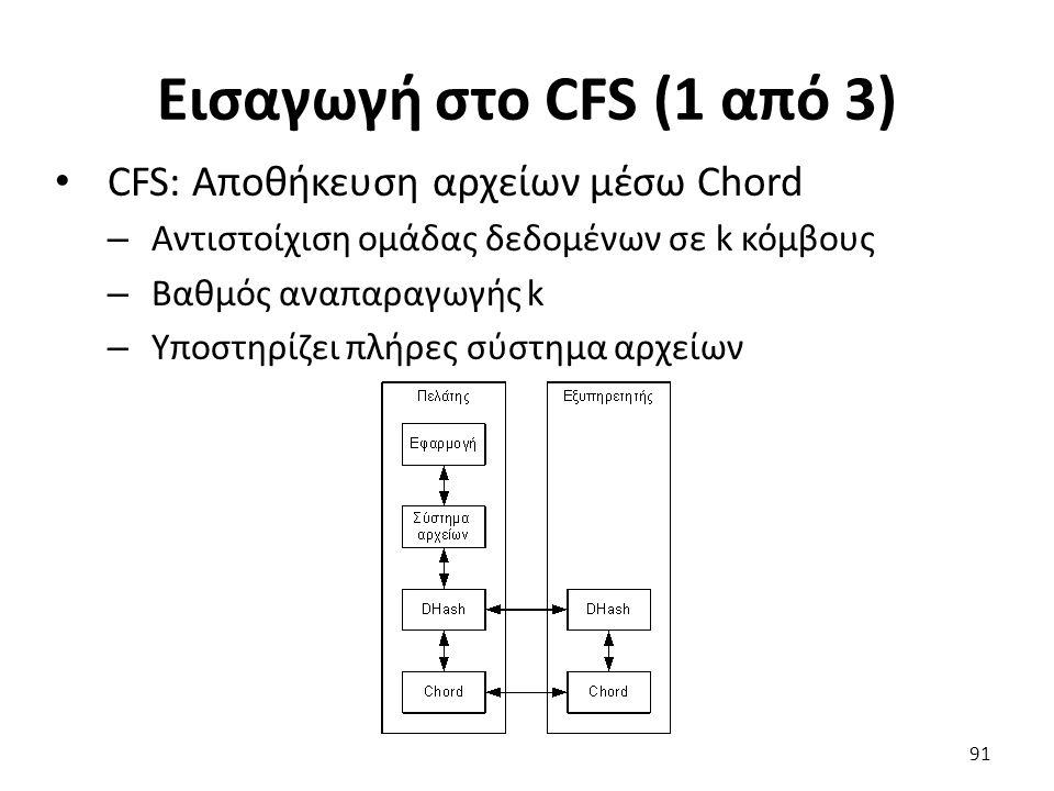 Εισαγωγή στο CFS (1 από 3) CFS: Αποθήκευση αρχείων μέσω Chord – Αντιστοίχιση ομάδας δεδομένων σε k κόμβους – Βαθμός αναπαραγωγής k – Υποστηρίζει πλήρες σύστημα αρχείων 91