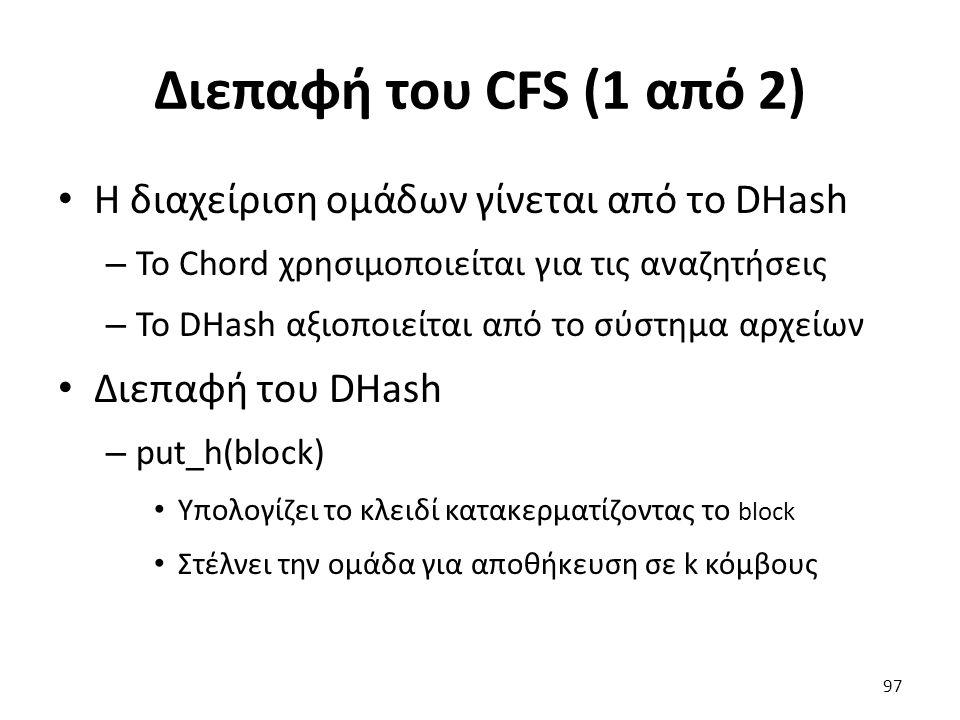 Διεπαφή του CFS (1 από 2) Η διαχείριση ομάδων γίνεται από το DHash – To Chord χρησιμοποιείται για τις αναζητήσεις – Το DHash αξιοποιείται από το σύστημα αρχείων Διεπαφή του DHash – put_h(block) Υπολογίζει το κλειδί κατακερματίζοντας το block Στέλνει την ομάδα για αποθήκευση σε k κόμβους 97