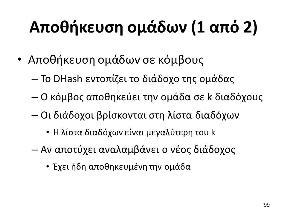 Αποθήκευση ομάδων (1 από 2) Αποθήκευση ομάδων σε κόμβους – Το DHash εντοπίζει το διάδοχο της ομάδας – Ο κόμβος αποθηκεύει την ομάδα σε k διαδόχους – Οι διάδοχοι βρίσκονται στη λίστα διαδόχων Η λίστα διαδόχων είναι μεγαλύτερη του k – Αν αποτύχει αναλαμβάνει ο νέος διάδοχος Έχει ήδη αποθηκευμένη την ομάδα 99