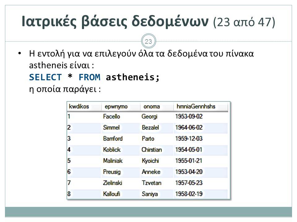 23 Ιατρικές βάσεις δεδομένων (23 από 47) Η εντολή για να επιλεγούν όλα τα δεδομένα του πίνακα astheneis είναι : SELECT * FROM astheneis; η οποία παράγει :