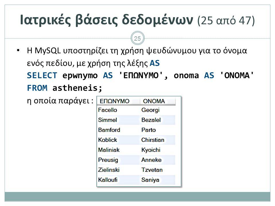 25 Ιατρικές βάσεις δεδομένων (25 από 47) H MySQL υποστηρίζει τη χρήση ψευδώνυμου για το όνομα ενός πεδίου, με χρήση της λέξης AS SELECT epwnymo AS ΕΠΩΝΥΜΟ , onoma AS ΟΝΟΜΑ FROM astheneis; η οποία παράγει :