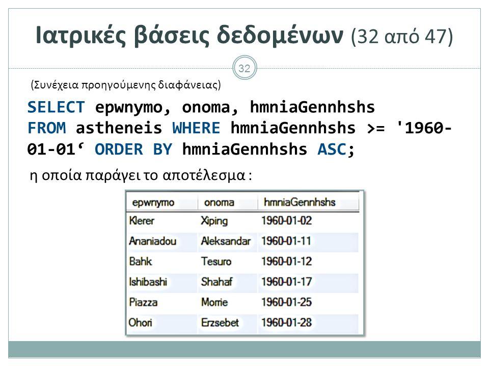 32 Ιατρικές βάσεις δεδομένων (32 από 47) η οποία παράγει το αποτέλεσμα : SELECT epwnymo, onoma, hmniaGennhshs FROM astheneis WHERE hmniaGennhshs >= 1960- 01-01' ORDER BY hmniaGennhshs ASC; (Συνέχεια προηγούμενης διαφάνειας)