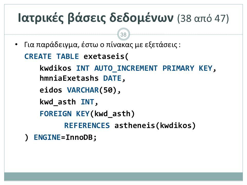 38 Ιατρικές βάσεις δεδομένων (38 από 47) Για παράδειγμα, έστω ο πίνακας με εξετάσεις : CREATE TABLE exetaseis( kwdikos INT AUTO_INCREMENT PRIMARY KEY, hmniaExetashs DATE, eidos VARCHAR(50), kwd_asth INT, FOREIGN KEY(kwd_asth) REFERENCES astheneis(kwdikos) ) ENGINE=InnoDB;