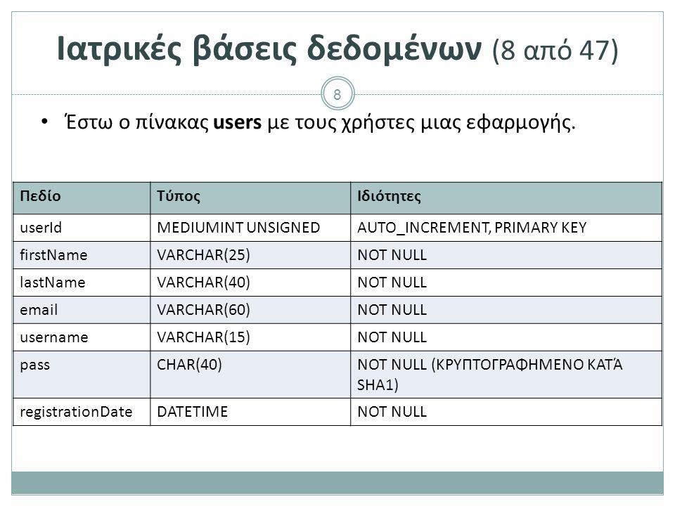 8 Ιατρικές βάσεις δεδομένων (8 από 47) Έστω ο πίνακας users με τους χρήστες μιας εφαρμογής.