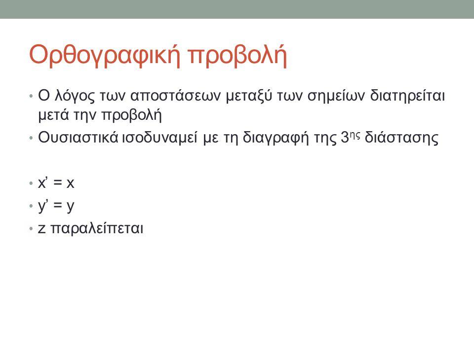 Ο λόγος των αποστάσεων μεταξύ των σημείων διατηρείται μετά την προβολή Ουσιαστικά ισοδυναμεί με τη διαγραφή της 3 ης διάστασης x' = x y' = y z παραλείπεται