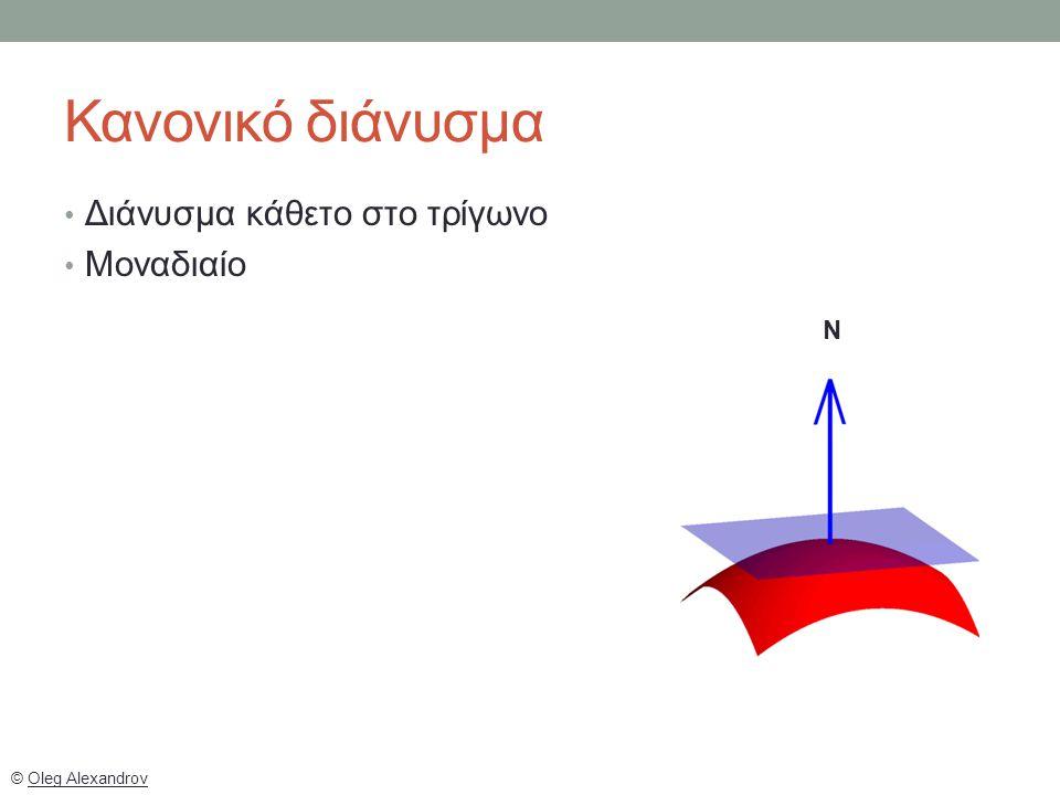 © Oleg Alexandrov N Κανονικό διάνυσμα Διάνυσμα κάθετο στο τρίγωνο Μοναδιαίο