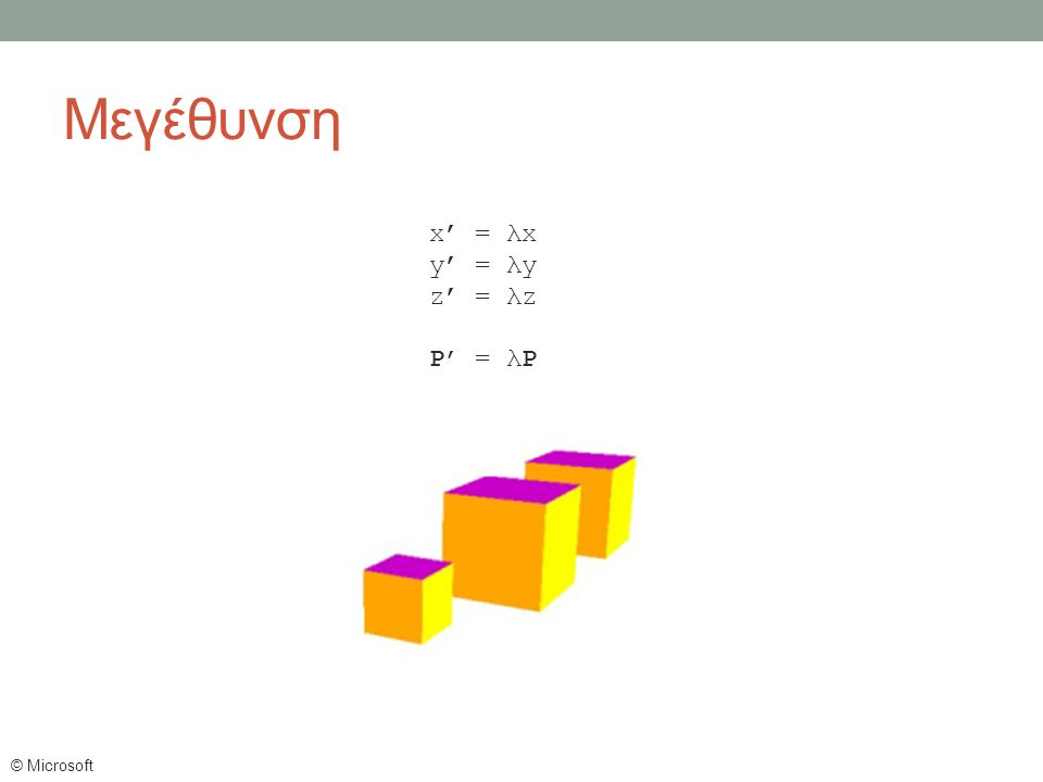 x' = λx y' = λy z' = λz P' = λP © Microsoft Μεγέθυνση