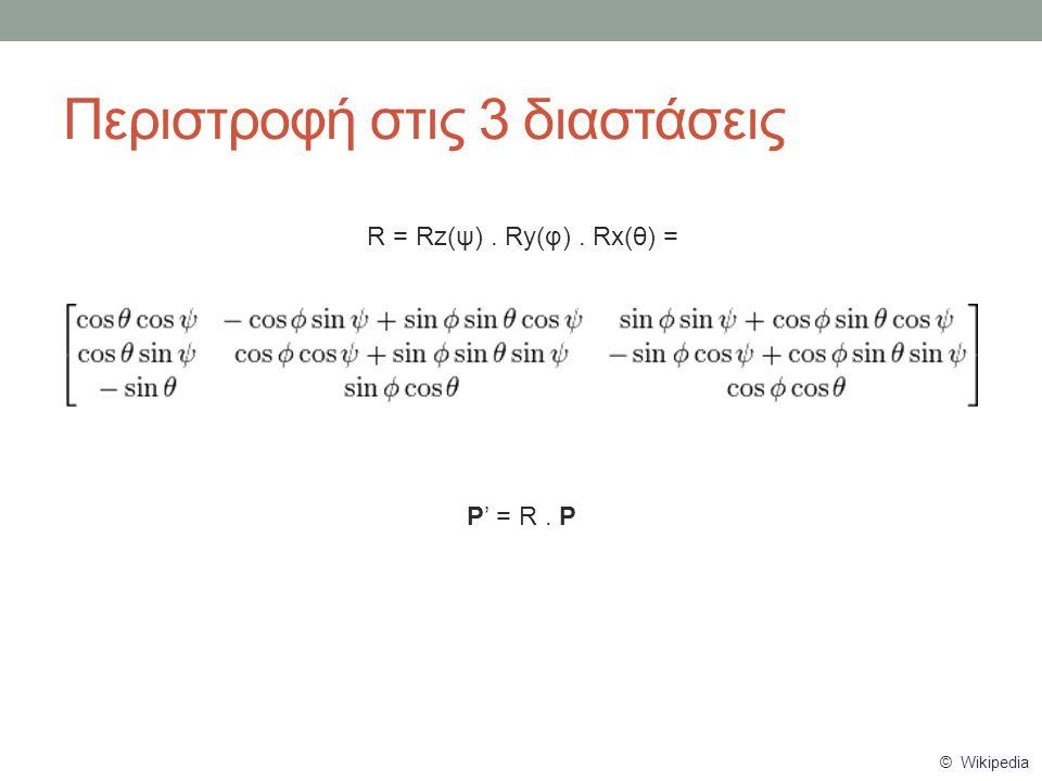 Περιστροφή στις 3 διαστάσεις R = Rz(ψ). Ry(φ). Rx(θ) = P' = R. P © Wikipedia