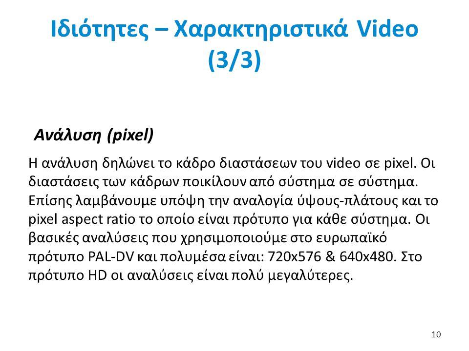 Ιδιότητες – Χαρακτηριστικά Video (3/3) Ανάλυση (pixel) Η ανάλυση δηλώνει το κάδρο διαστάσεων του video σε pixel.