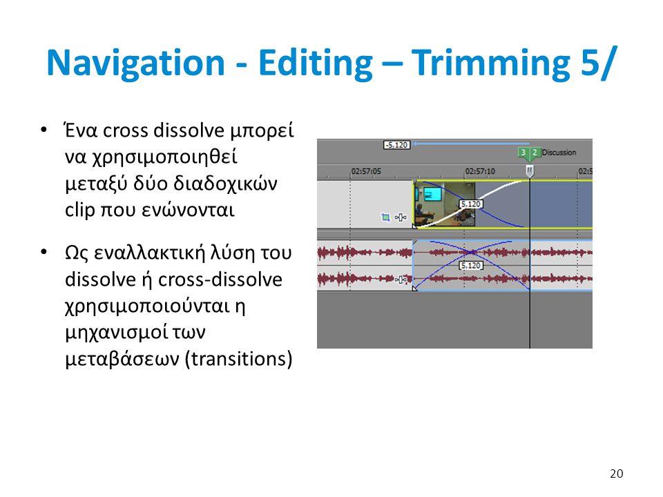 Ένα cross dissolve μπορεί να χρησιμοποιηθεί μεταξύ δύο διαδοχικών clip που ενώνονται Ως εναλλακτική λύση του dissolve ή cross-dissolve χρησιμοποιούνται η μηχανισμοί των μεταβάσεων (transitions) 20 Navigation - Editing – Trimming 5/