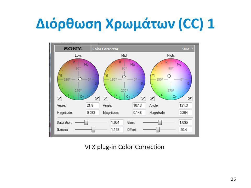 VFX plug-in Color Correction 26 Διόρθωση Χρωμάτων (CC) 1