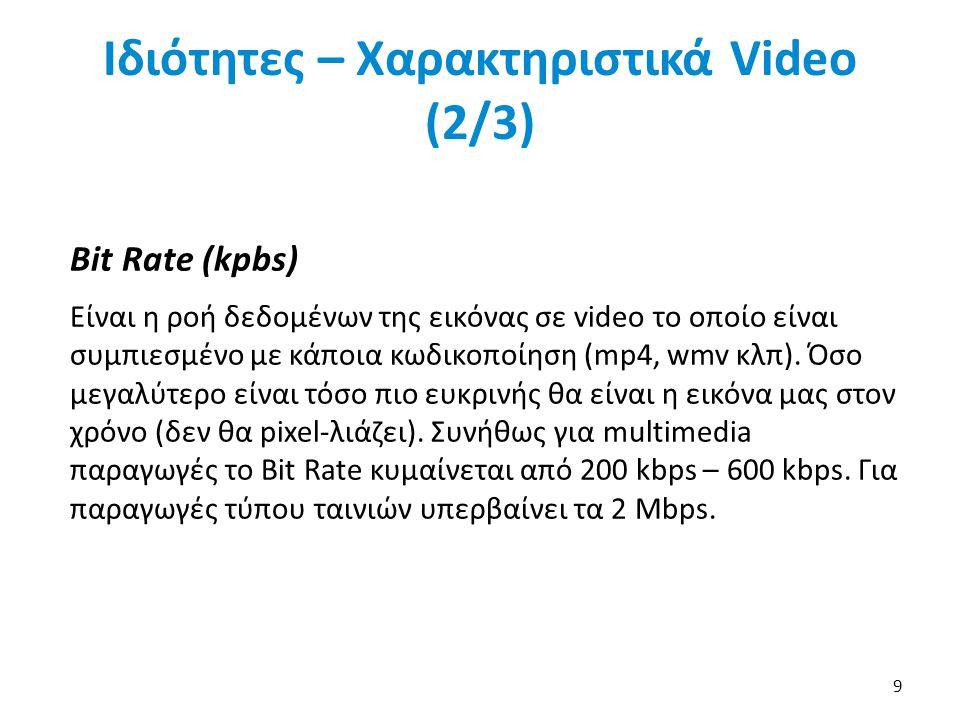 Ιδιότητες – Χαρακτηριστικά Video (2/3) Bit Rate (kpbs) Είναι η ροή δεδομένων της εικόνας σε video το οποίο είναι συμπιεσμένο με κάποια κωδικοποίηση (mp4, wmv κλπ).