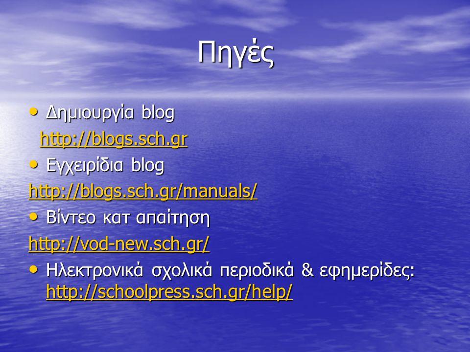 Πηγές Δημιουργία blog Δημιουργία blog http://blogs.sch.gr http://blogs.sch.grhttp://blogs.sch.gr Εγχειρίδια blog Εγχειρίδια blog http://blogs.sch.gr/m