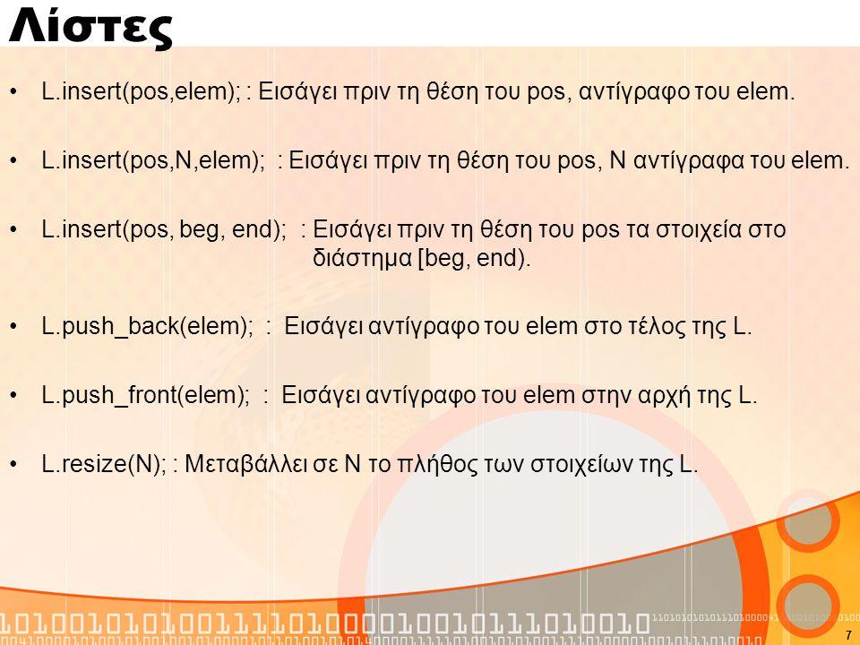 Λίστες L.insert(pos,elem); : Εισάγει πριν τη θέση του pos, αντίγραφο του elem.