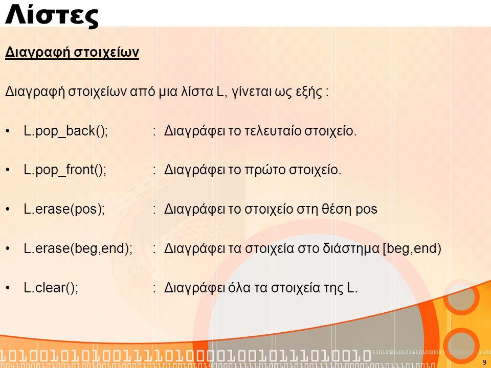 Λίστες Διαγραφή στοιχείων Διαγραφή στοιχείων από μια λίστα L, γίνεται ως εξής : L.pop_back(); : Διαγράφει το τελευταίο στοιχείο.