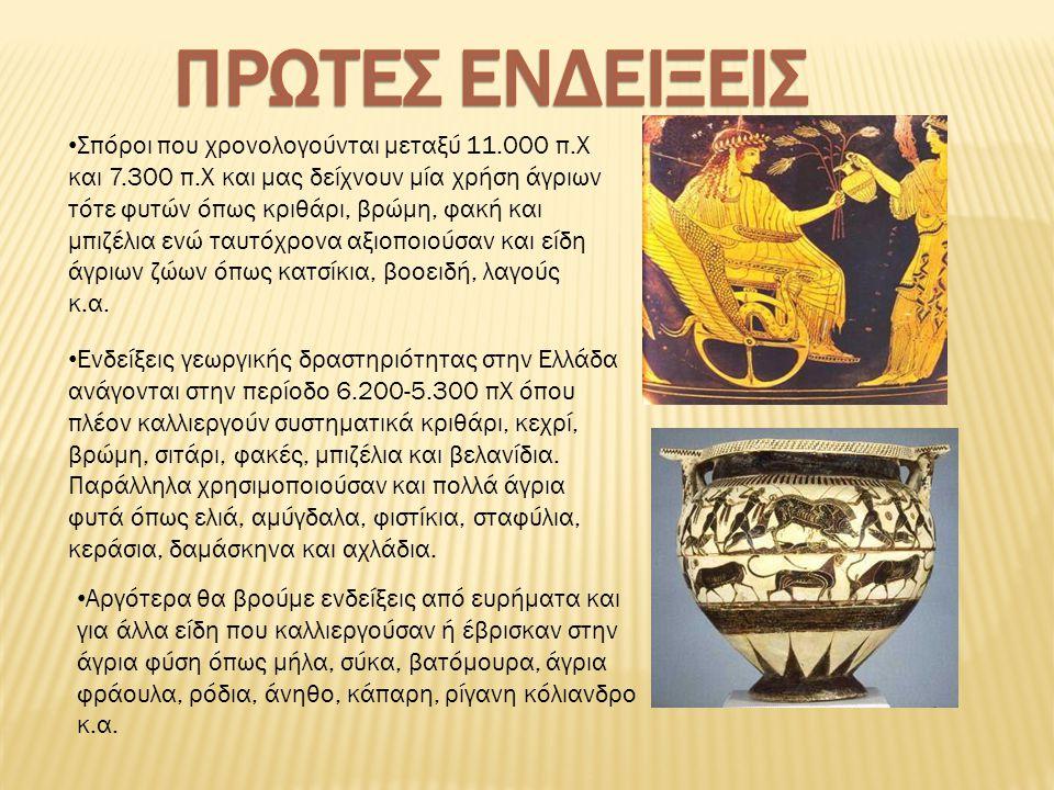 Σπόροι που χρονολογούνται μεταξύ 11.000 π.Χ και 7.300 π.Χ και μας δείχνουν μία χρήση άγριων τότε φυτών όπως κριθάρι, βρώμη, φακή και μπιζέλια ενώ ταυτόχρονα αξιοποιούσαν και είδη άγριων ζώων όπως κατσίκια, βοοειδή, λαγούς κ.α.