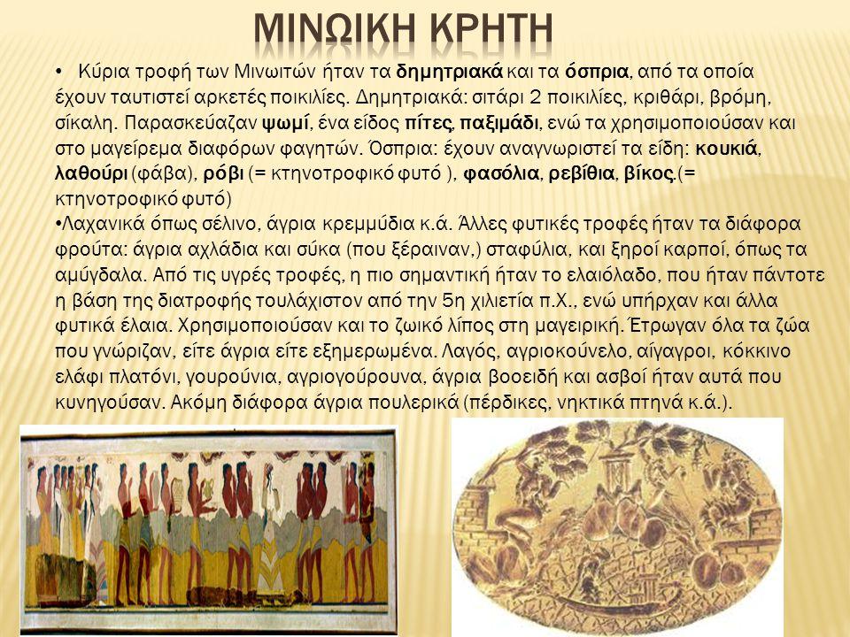 Κύρια τροφή των Μινωιτών ήταν τα δημητριακά και τα όσπρια, από τα οποία έχουν ταυτιστεί αρκετές ποικιλίες.