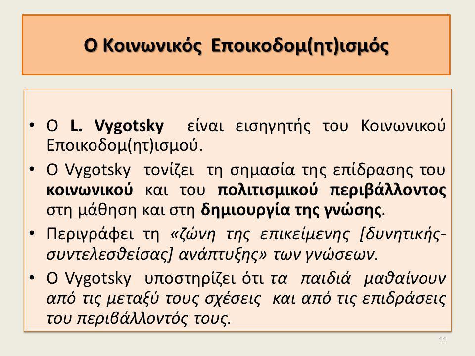 Ο Κοινωνικός Εποικοδομ(ητ)ισμός Ο L. Vygotsky είναι εισηγητής του Κοινωνικού Εποικοδομ(ητ)ισμού. Ο Vygotsky τονίζει τη σημασία της επίδρασης του κοινω