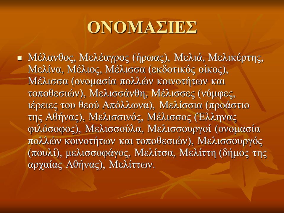 ΟΝΟΜΑΣΙΕΣ Μέλανθος, Μελέαγρος (ήρωας), Μελιά, Μελικέρτης, Μελίνα, Μέλιος, Μέλισσα (εκδοτικός οίκος), Μέλισσα (ονομασία πολλών κοινοτήτων και τοποθεσιών), Μελισσάνθη, Μέλισσες (νύμφες, ιέρειες του θεού Απόλλωνα), Μελίσσια (προάστιο της Αθήνας), Μελισσινός, Μέλισσος (Έλληνας φιλόσοφος), Μελισσούλα, Μελισσουργοί (ονομασία πολλών κοινοτήτων και τοποθεσιών), Μελισσουργός (πουλί), μελισσοφάγος, Μελίτσα, Μελίττη (δήμος της αρχαίας Αθήνας), Μελίττων.