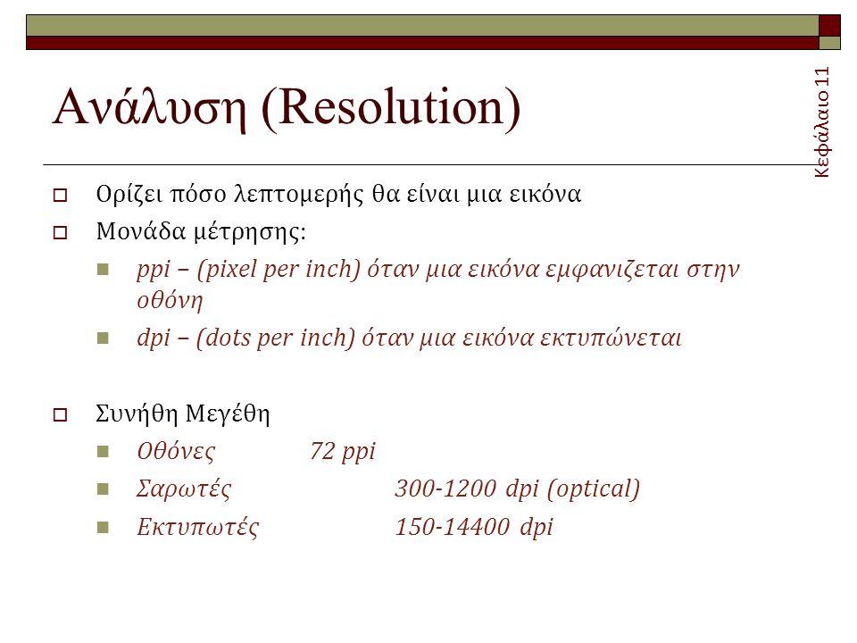 Ανάλυση (Resolution)  Ορίζει πόσο λεπτομερής θα είναι μια εικόνα  Μονάδα μέτρησης: ppi – (pixel per inch) όταν μια εικόνα εμφανιζεται στην οθόνη dpi