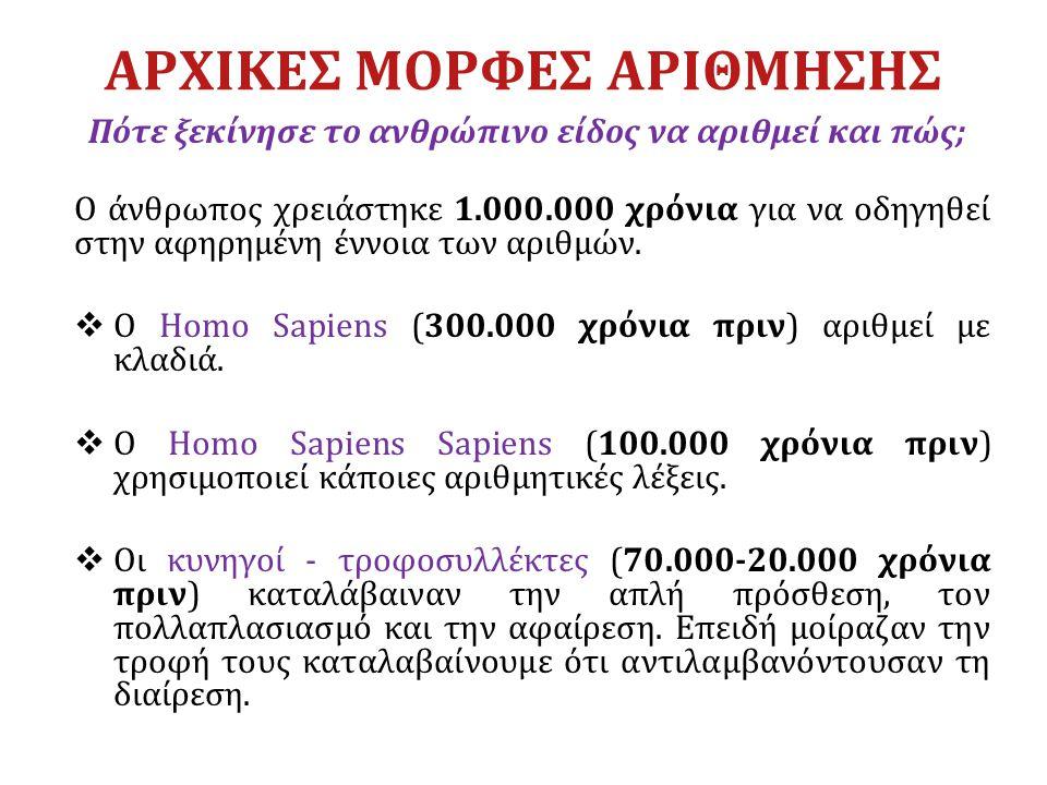 ΑΡΧΙΚΕΣ ΜΟΡΦΕΣ ΑΡΙΘΜΗΣΗΣ Πότε ξεκίνησε το ανθρώπινο είδος να αριθμεί και πώς; Ο άνθρωπος χρειάστηκε 1.000.000 χρόνια για να οδηγηθεί στην αφηρημένη έν