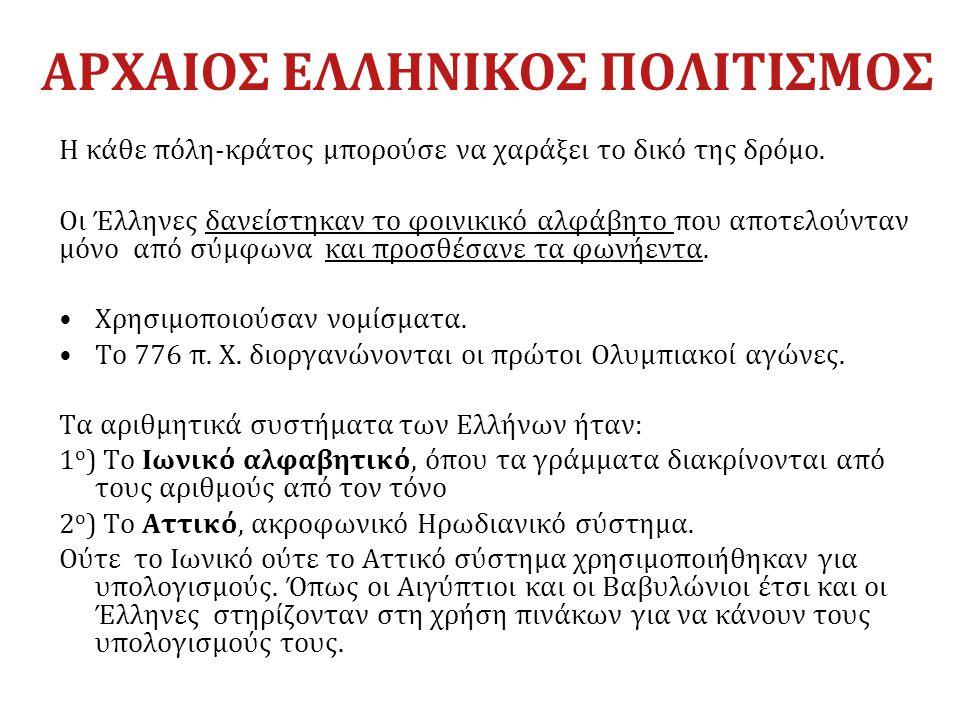 ΑΡΧΑΙΟΣ ΕΛΛΗΝΙΚΟΣ ΠΟΛΙΤΙΣΜΟΣ Η κάθε πόλη-κράτος μπορούσε να χαράξει το δικό της δρόμο. Οι Έλληνες δανείστηκαν το φοινικικό αλφάβητο που αποτελούνταν μ
