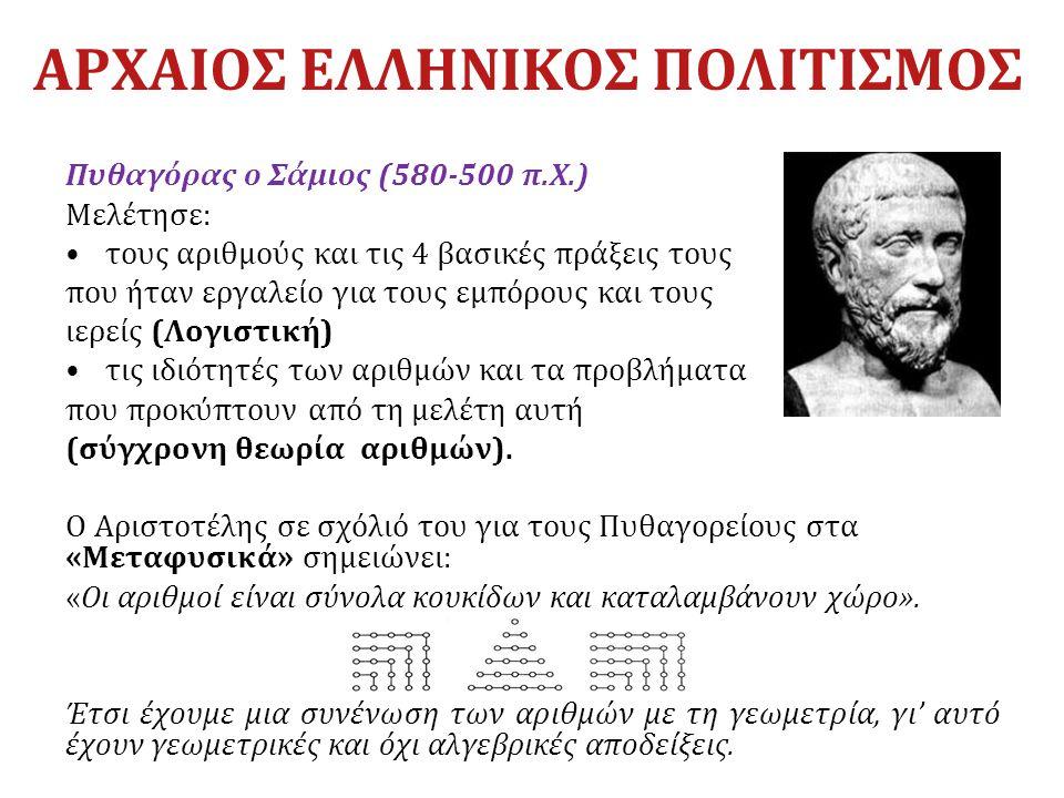 ΑΡΧΑΙΟΣ ΕΛΛΗΝΙΚΟΣ ΠΟΛΙΤΙΣΜΟΣ Πυθαγόρας ο Σάμιος (580-500 π.Χ.) Mελέτησε: τους αριθμούς και τις 4 βασικές πράξεις τους που ήταν εργαλείο για τους εμπόρ