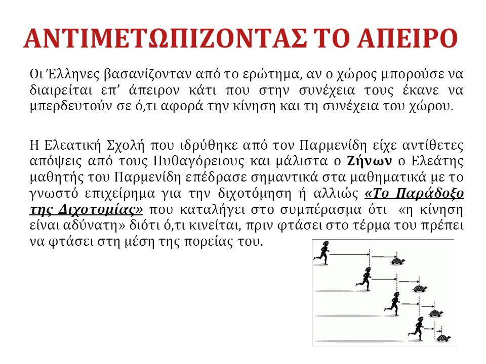 Οι Έλληνες βασανίζονταν από το ερώτημα, αν ο χώρος μπορούσε να διαιρείται επ' άπειρον κάτι που στην συνέχεια τους έκανε να μπερδευτούν σε ό,τι αφορά τ