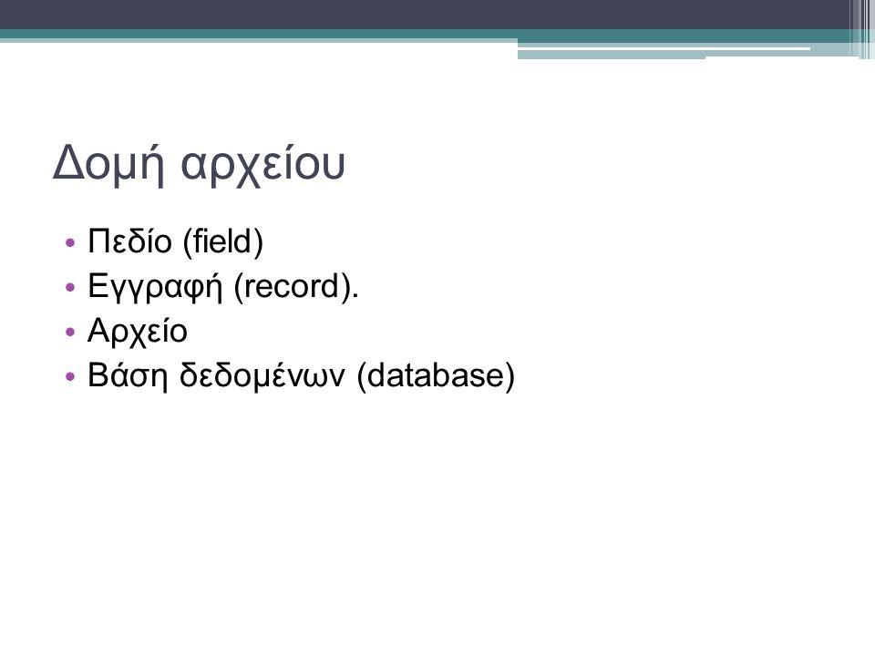 Δομή αρχείου Πεδίο (field) Εγγραφή (record). Αρχείο Βάση δεδομένων (database)