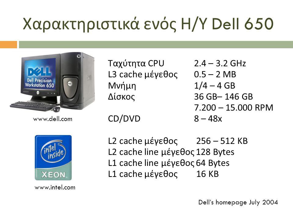 Χαρακτηριστικά ενός Η / Υ Dell 650 Ταχύτητα CPU 2.4 – 3.2 GHz L3 cache μέγεθος 0.5 – 2 MB Μνήμη 1/4 – 4 GB Δίσκος 36 GB– 146 GB 7.200 – 15.000 RPM CD/DVD 8 – 48x L2 cache μέγεθος 256 – 512 KB L2 cache line μέγεθος 128 Bytes L1 cache line μέγεθος 64 Bytes L1 cache μέγεθος 16 KB www.intel.com www.dell.com Dell's homepage July 2004