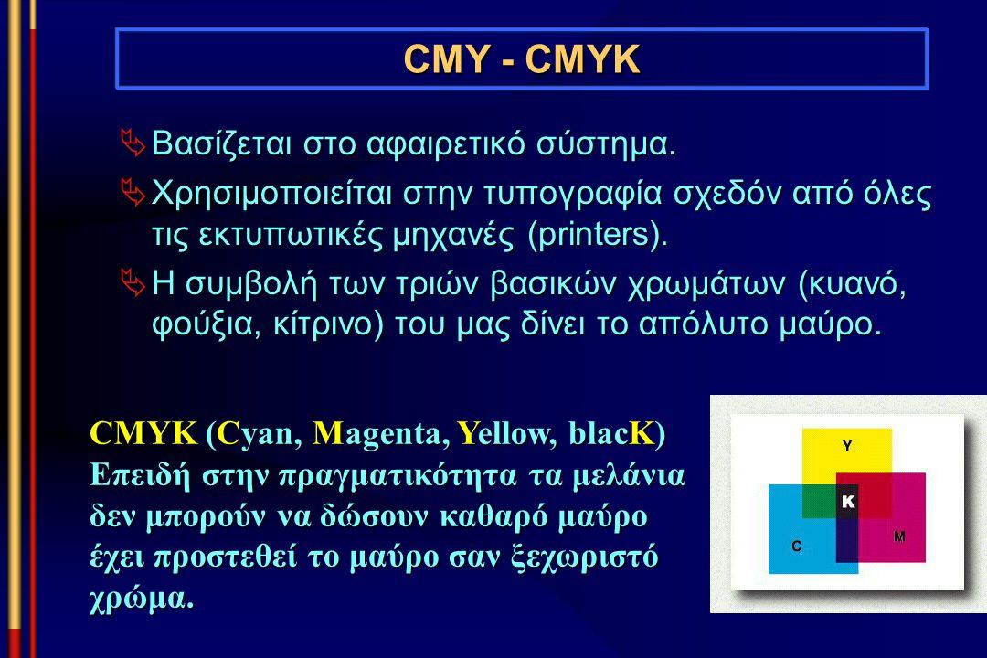 CMY - CMYK  Βασίζεται στο αφαιρετικό σύστημα.  Χρησιμοποιείται στην τυπογραφία σχεδόν από όλες τις εκτυπωτικές μηχανές (printers).  Η συμβολή των τ