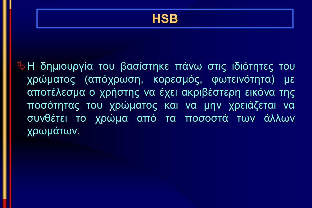 HSB  Η δημιουργία του βασίστηκε πάνω στις ιδιότητες του χρώματος (απόχρωση, κορεσμός, φωτεινότητα) με αποτέλεσμα ο χρήστης να έχει ακριβέστερη εικόνα