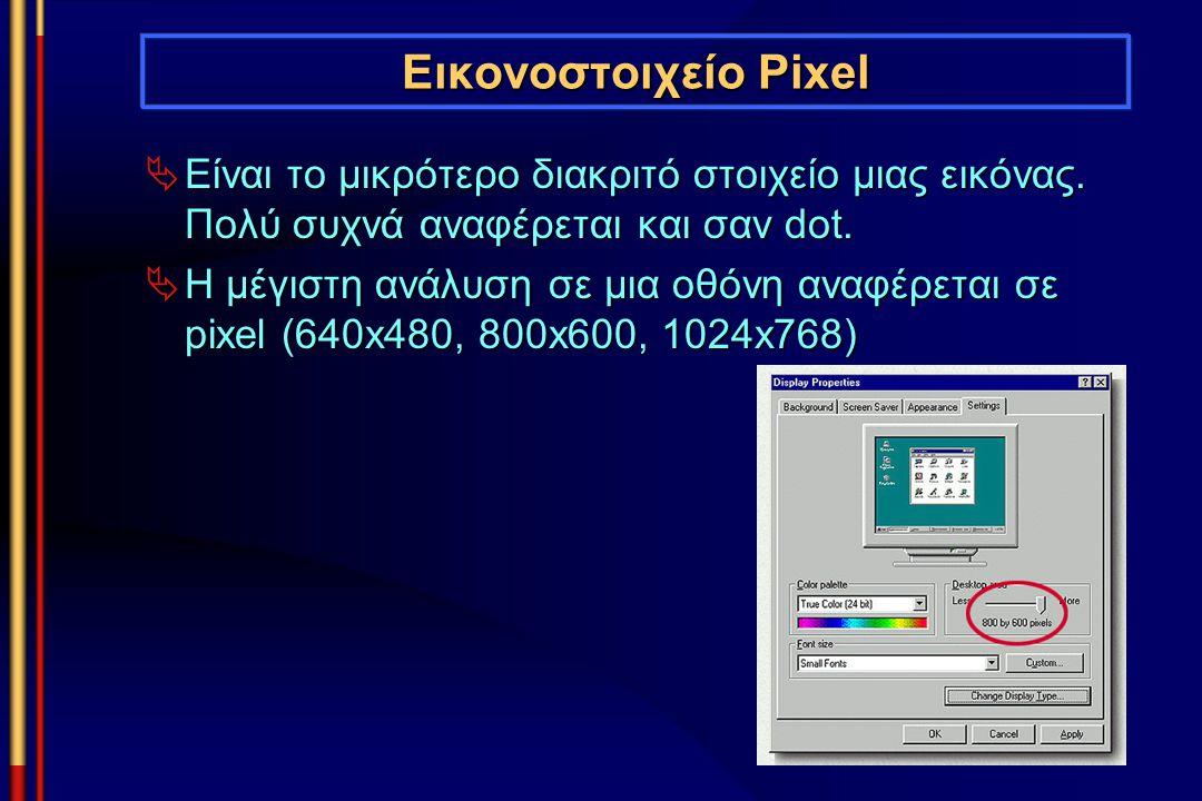 Εικονοστοιχείο Pixel  Είναι το μικρότερο διακριτό στοιχείο μιας εικόνας. Πολύ συχνά αναφέρεται και σαν dot.  Η μέγιστη ανάλυση σε μια οθόνη αναφέρετ