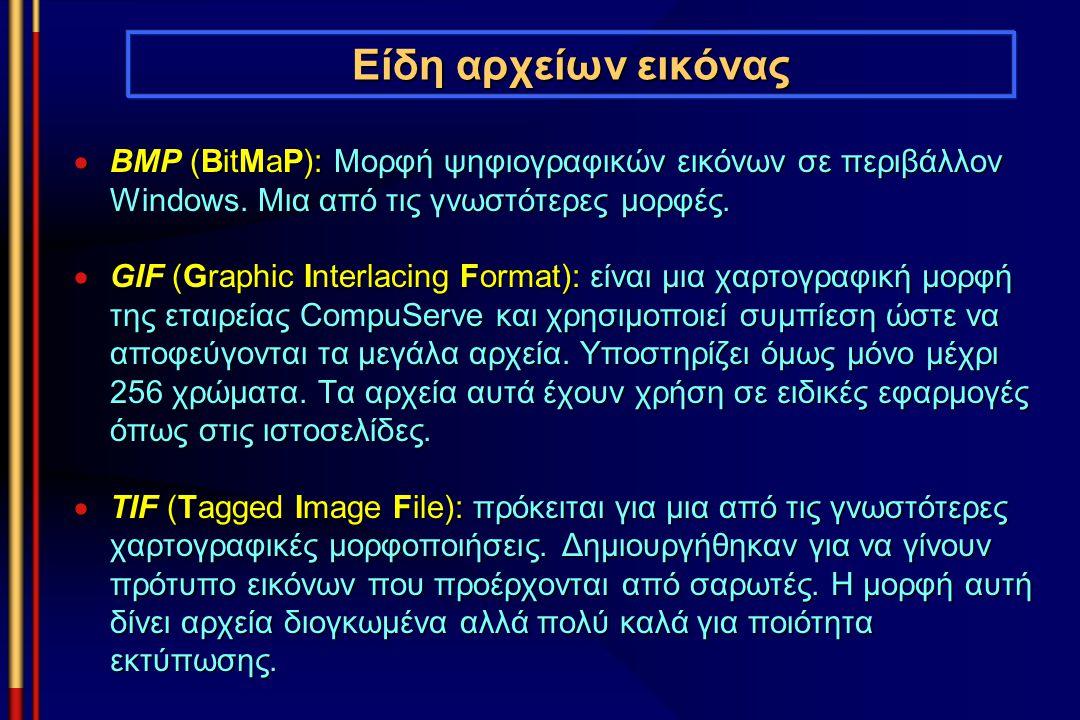 Είδη αρχείων εικόνας  BMP (BitMaP): Μορφή ψηφιογραφικών εικόνων σε περιβάλλον Windows. Μια από τις γνωστότερες μορφές.  GIF (Graphic Interlacing For